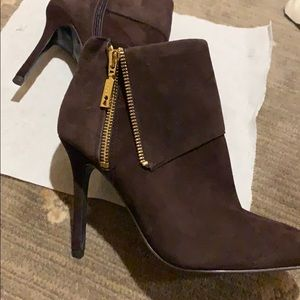 Brown suede booties brand new